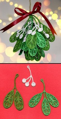 Craft a romantic Christmas with this freestanding lace mistletoe! Stitch each piece separately onto water-soluble stabilizer, rinse, dry, assemble, and deck the halls!