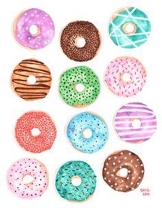 Donas on Behance Donut Drawing, Food Drawing, Food Painting, Painting Prints, Art Prints, Food Illustrations, Illustration Art, Chibi Kawaii, Photographie Portrait Inspiration