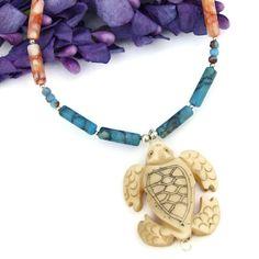 Sea #Turtle Pendant #Necklace #Scrimshaw Bone Jasper Gemstone Artisan #Handmade by @ShadowDog - #ShadowDogDesigns #Jewelry - $45.00 - SOLD *