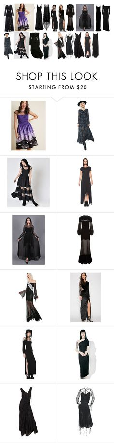 """""""Lanya's Long Dresses #3"""" by switchback13 on Polyvore featuring Hell Bunny, Alexander McQueen, Dolls Kill, Killstar, Tripp, Criminal Damage, Issey Miyake and Karl Lagerfeld"""