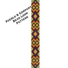 Native American Style Black Diamonds Bead Loom Pattern - Beaded Wide Bracelet - Beadweaving - Square Stitch - Seed Bead -Boho - Gypsy Tribal by PuebloAndCo on Etsy