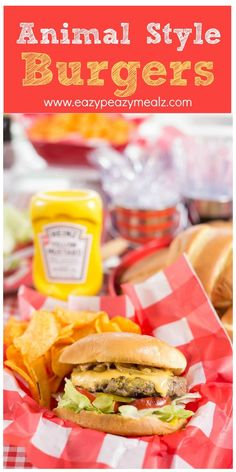Animal Style Burgers  cooked in Heinz Yellow Mustard and topped with caramelized onions. These burgers are delicious! #ad #ketchupsnewmustard - Eazy Peazy Mealz