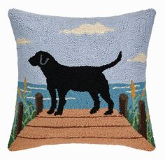 "Black Labrador Retriever Dock Dog - 18"" Hooked Wool Pillow"