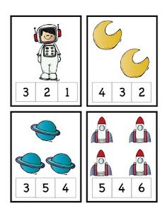 Preschool Printables: Rocket to the Moon Number Cards Space Theme Preschool, Space Activities, Preschool Science, Preschool Lessons, Preschool Learning, Kindergarten Worksheets, Classroom Activities, In Kindergarten, Teaching