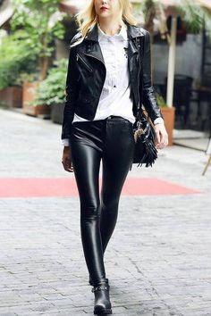 Leather Biker Jacket with Buckle Detail - US$45.95 -YOINS