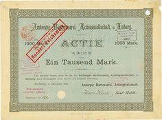 Amberger #Bierbrauerei-AG #Amberg, 11.12.1896, Aktie über 1.000 Mark, später auf 100 RM umgestempelt, #132, 24,7 x 33,5 cm, türkis, schwarz, Knickfalten, Randschäden teilweise hinterklebt, Erhaltung VF, lochentwertet (RB), nur dieses eine Exemplar lag im Reichsbankschatz!
