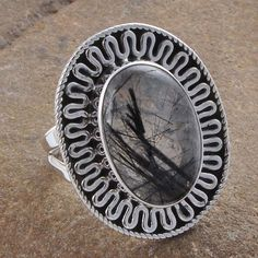 BLACK RUTILE 925 SOLID STERLING SILVER RING JEWELLERY 5.91g R01279 #Handmade #Ring