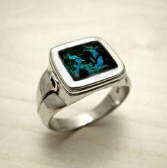 Mens silver ringsterling silver ringsignet ringcrackle