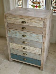 multi colour Vintage Industrial Cabinet 2 Drawers Retro style Storage Chest in Home, Furniture & DIY, Furniture, Cabinets & Cupboards Furniture Projects, Furniture Makeover, Painted Furniture, Diy Furniture, Wood Projects, Vintage Industrial Furniture, Distressed Furniture, Repurposed Furniture, Beach House Furniture