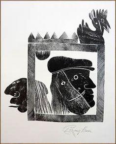 Günter Bruno Fuchs (3 juli 1928 – 19 april 1977) Portret. Houtsnede door Wolfgang Simon, 1989