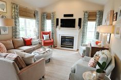 Neutral Kid Friendly Family Room and Bright Kithcen