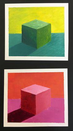 SRJC: analogous palette cubes Intro To Art, 7th Grade Art, Middle School Art Projects, Atelier D Art, Ecole Art, Guache, Art Lessons Elementary, Elements Of Art, Art Lesson Plans