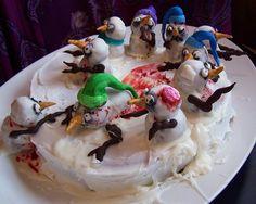 Zombie Snowman cake for my winter birthday boy
