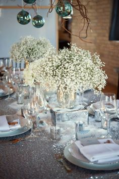 Winter Wedding / Silver  Blue Shimmering Table Inspiration
