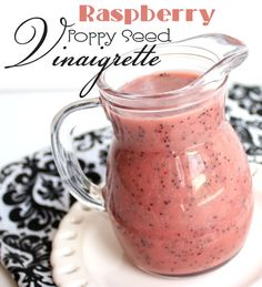 Raspberry Poppy Seed Vinaigarette:  3 T red onion, chopped  3 T raspberry jam (or strawberry, mixed berry, boysenberry…any berry jam will do)  1/4 C sugar  1/2 C + 2 T red wine vinegar  1 T honey mustard  1/2 t salt  1/2 C vegetable oil  1 T poppy seeds  Place in blender and mix until desired consistency.  (Sub honey for the sugar and olive oil or coconut oil for the vegetable oil)