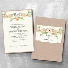 Petite Jardin Wedding Invitations with Pocket