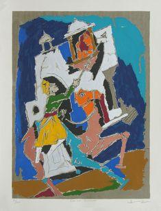 Folk Lore - Jaisalmer by M F Husain Indian Folk Art, Indian Artist, Wall Art Prints, Fine Art Prints, Canvas Prints, Mf Hussain Paintings, Contemporary Art Prints, Indian Paintings, Online Painting