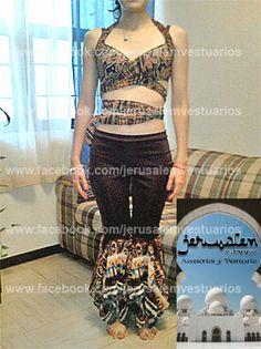 Conjuntyo tribal en lycra y shiffón estampado (bellydance, danza del vientre, vestuario, costume, custom made)