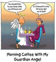 Morning Coffee with My Guardian Angel #chronicillness fun