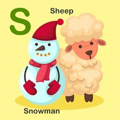 Illustration Isolated Animal Alphabet Letter S-snowman,sheep Sheep Vector, Dog Vector, Vector Free, Flashcards For Toddlers, Cupcake Vector, Realistic Sketch, Learning The Alphabet, Preschool Alphabet, Animal Alphabet