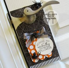 Door hanger by Kathy Martin. Reverse Confetti stamp set: Cast a Spell. Confetti Cuts: Hanging Out, Circles 'n Scallops and Tag Me, Too. Halloween favor. Halloween gift.
