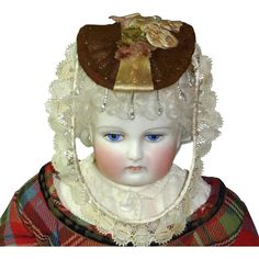 French Fashion's Promenade Bonnet, Brown and Tan with Lace and Beads from fireweedgallery on Ruby Lane