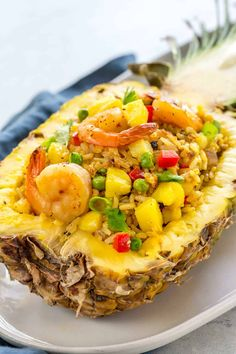 Pineapple fried rice is a quick stir-fry with Thai-inspired ingredients like jasmine rice curry fish sauce red bell p. Thai Pineapple Fried Rice, Pineapple Shrimp, Pineapple Bowl, Thai Fried Rice, Seafood Fried Rice, Clean Eating, Healthy Eating, Healthy Food, Seafood Recipes