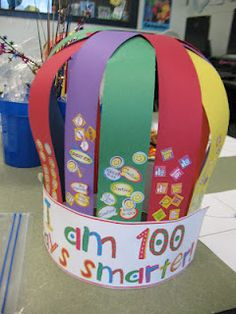 100 day hat... 10 different things on each strip, stamps, stickers, google eyes, pom poms, etc,