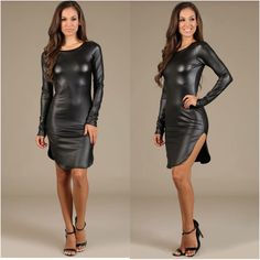 Faux Leather Dress, Leather Dresses, Leather Skirt, Sexy Cocktail Dress, Club Dresses, Wardrobes, Clubwear, Sexy Outfits, Pretty Woman
