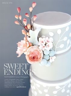 Modern Grey & White Wedding Cake with Pink & Peach Florals