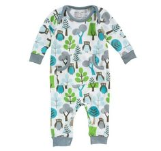 Owl Sky Long Sleeve Playsuit-dwell studios, owl sky playsuit, playsuit, pajamas, pjs, infant, baby, boy, owl, trendy, baby boutique, baby shower gift, baby registry