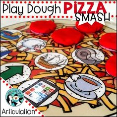 Articulation smash mats: 51 play dough pizza mats targeting 23 phonemes and 1 blank play dough pizza mat to personalize. These play dough mats are used to engage children in interactive fun while working on speech sounds and providing fine motor practice as well.