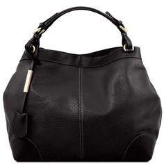 Ambrosia - Mykt skinn / Shoppingbag med skulderstropp - Sort