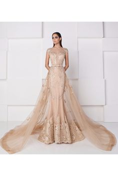 SK by Saiid Kobeisy Lace and Tulle Overlay Mermaid Gown Nude and Gold