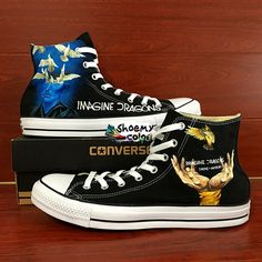 Men Women Imagine Dragon Converse Hand Painted Canvas Sneakers