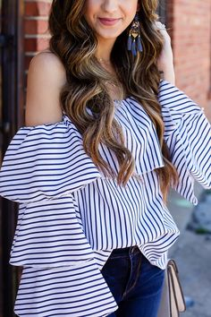 Must Have Ruffle Tops For Spring - Around Town Babe Clothing Photography, Ruffle Top, Fashion 2017, Must Haves, Outfits, Spring, Women, Sherbet Ice Cream, Blouse And Skirt