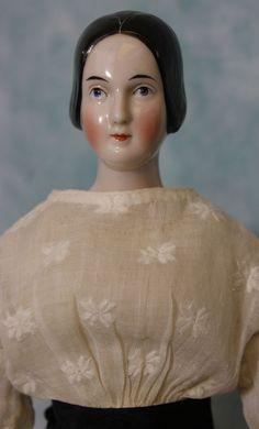 """14"""" Rare 1840-1850 Antique China Head Doll w/ Braided Bun Boo Boo Bargain EARLY!"""