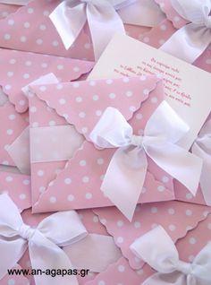 Υφασμάτινο προσκλητήριο βάπτισης φάκελος ροζ πουά | an-agapas.gr