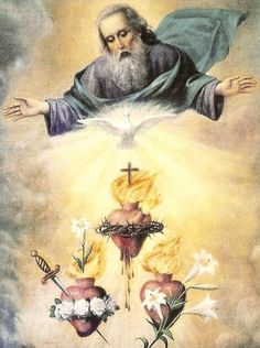 The Holy Trinity and the Hearts of Jesus Mary and Joseph Religious Images, Religious Art, Jesus Mary And Joseph, Saint Joseph, Brust Tattoo, Religion, Vintage Holy Cards, Mama Mary, Heart Of Jesus