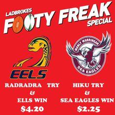 https://www.ladbrokes.com.au/sports/rugby-league/4582770-nrl-round-24/4582770-parramatta-eels-vs-manly-sea-eagles/?a=501752  Get Big Odd with Ladbrokes Footy Freak Specials