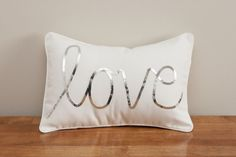 Silver love cushion. awesome Etsy listing at https://www.etsy.com/listing/152703253/silver-sequined-love-cushion
