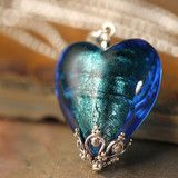 Queen of Hearts Electric Blue Venetian Glass Heart Necklace