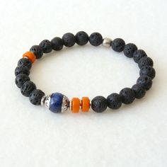 Mens Tibetan Bracelet, Spiritual Jewelry, Lapis Lazuli, Lava Stones,... ($25) ❤ liked on Polyvore featuring men's fashion, men's jewelry, men's bracelets, mens bracelets and mens watches jewelry