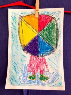 Värioppia, pää- ja välivärejä. Teimme sateenvarjon väriympyrästä. Sen jälkeen oppilaat piirsivät sateenvarjon alle sadetakin helman, kumisaappaat ja lätäkön vahaliiduilla. Lopuksi oppilaat piirsivät akvarelliliiduilla sadetta työnsä taustaksi. Lopuksi työ laveerattiin vedellä. Helmet, Arts And Crafts, Drawings, Hard Hats, Art And Craft, Drawing, Portrait, Paint, Paintings