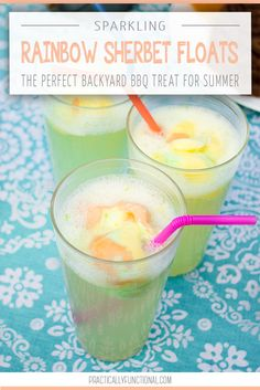 Sparkling rainbow sherbet floats are the perfect, refreshing summer treat for kids and adults! All you need is 7UP and rainbow sherbet! #ad