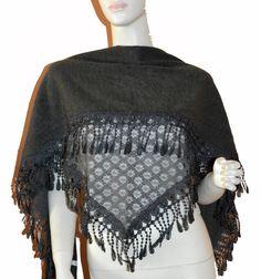 Soft Dark Grey Triangle Knit & Lace Fashion Scarf