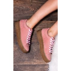 SpyLoveBuy Inka Lace Up Platform Flat Creeper Shoes   Pink Gum Suede... ($35) ❤ liked on Polyvore featuring shoes, creeper platform shoes, suede shoes, mid heel shoes, flat shoes and lace up shoes