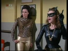 batman 66 the jokers hard time   Sharyn Winters as Eenie with Julie Newmar's Catwoman