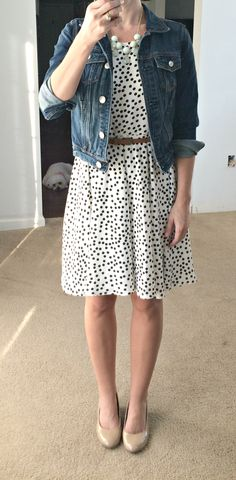Stitch Fix September 2015 - Sugar Dot Print Dress. So cute and flattering! // Perfect outfit for work! Look Fashion, Womens Fashion, Fashion Outfits, Fashion Clothes, Fall Fashion, Stitch Fix Outfits, Stitch Fix Dress, Stitch Fix Jacket, Stitch Fix Stylist