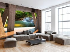 Designer wallpaper Landscape of Modernity - high quality, modern photo wallpapers. River and waterfall wall murals are the latest interior design trend! Outdoor Furniture Sets, Outdoor Decor, Colorful Wallpaper, Photo Wallpaper, Designer Wallpaper, Wall Murals, Design Trends, Backyard, Interior Design